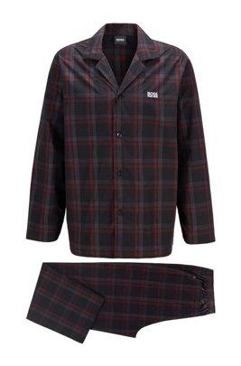 Karierter Pyjama aus Baumwoll-Popeline in Geschenkbox, Schwarz