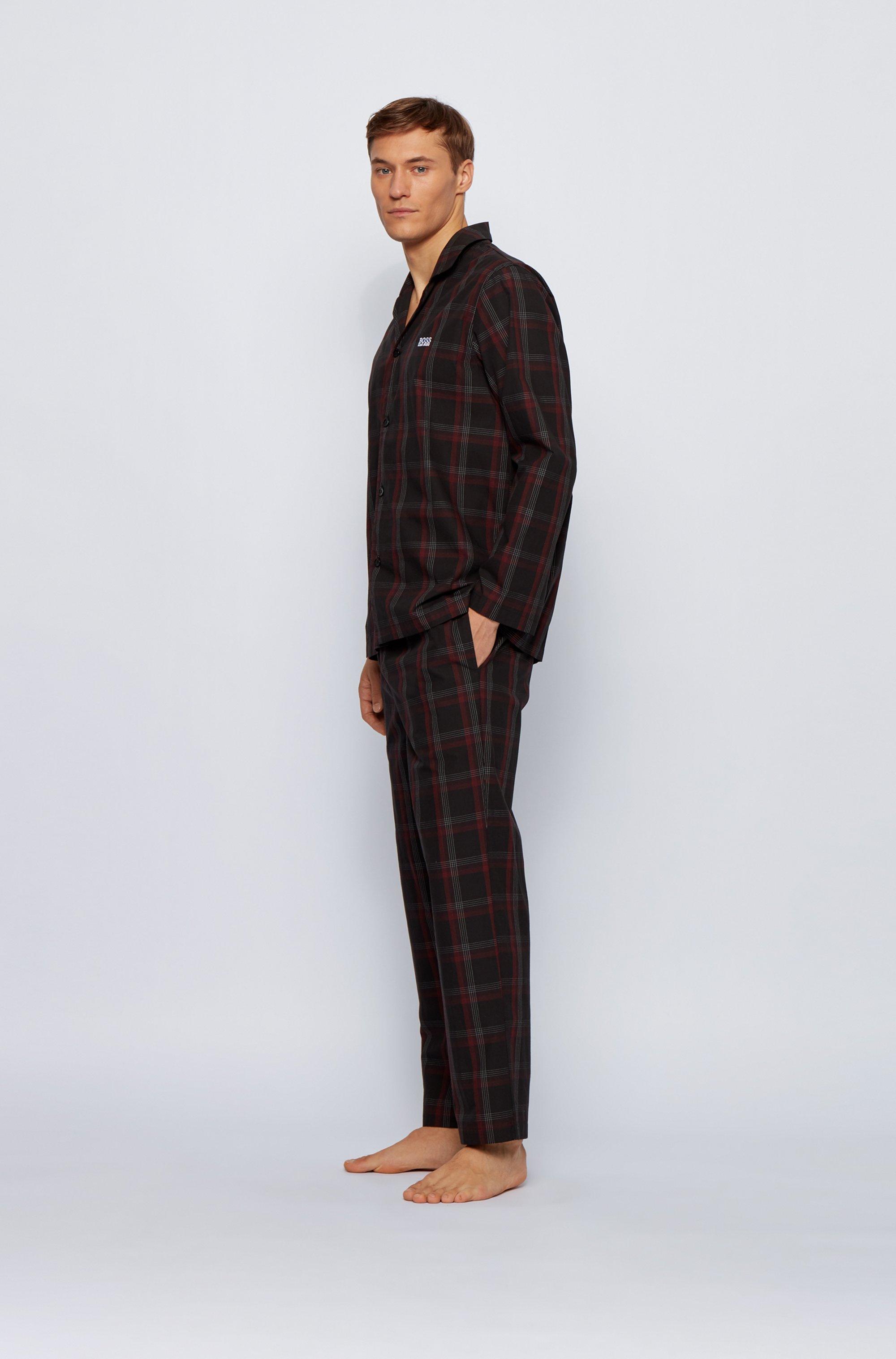 Karierter Pyjama aus Baumwoll-Popeline in Geschenkbox