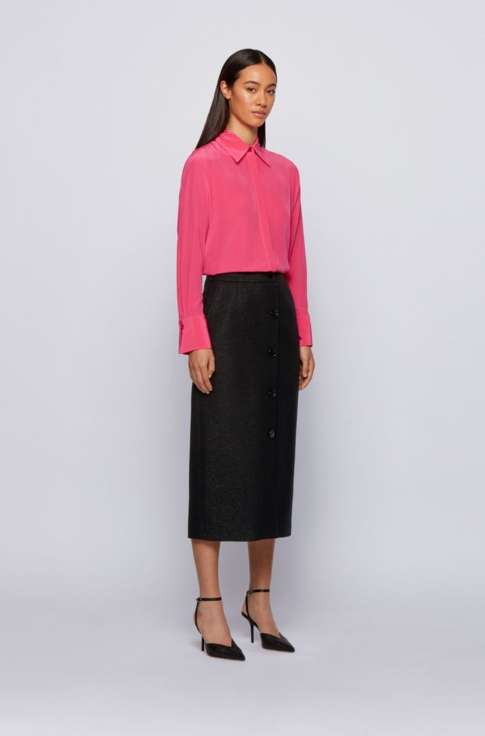 Midi-length button-through pencil skirt in metallised tweed