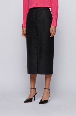 Midi-length button-through pencil skirt in metallised tweed, Black