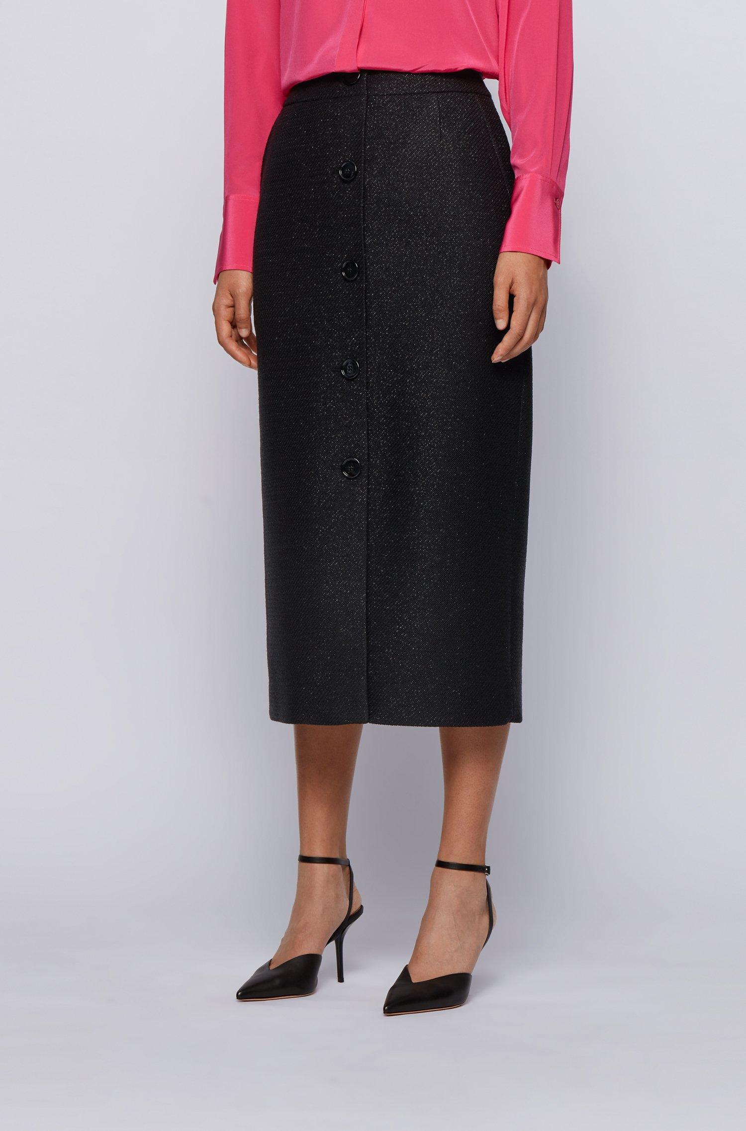 Midi-length button-through pencil skirt in metallised tweed, Black