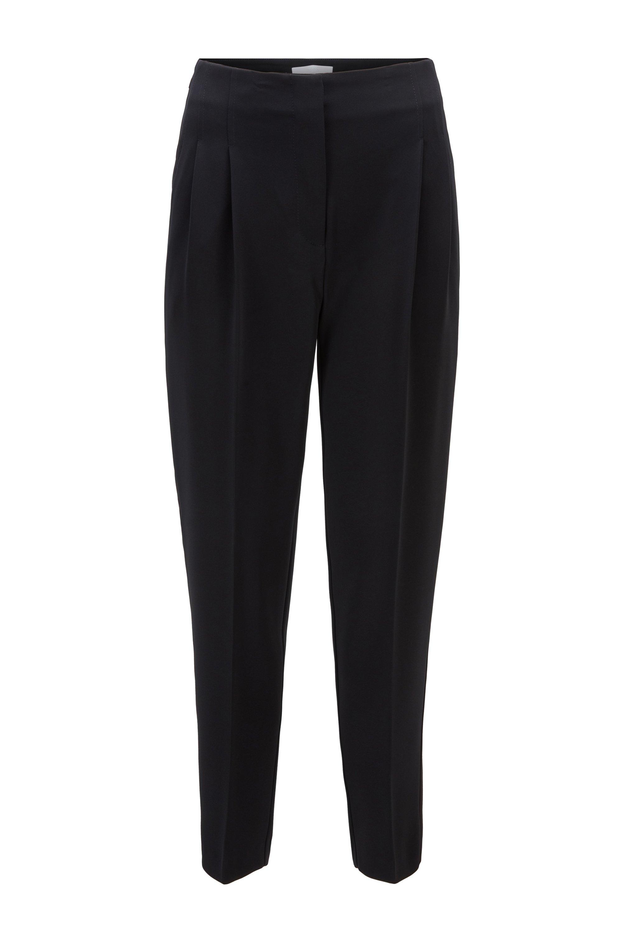 Pantalon Regular Fit à taille haute en crêpe texturé japonais, Noir