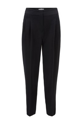 Regular-Fit Hose aus japanischem Struktur-Krepp mit hohem Bund, Schwarz