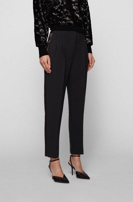 High-waisted regular-fit trousers in Japanese crinkle crêpe, Black