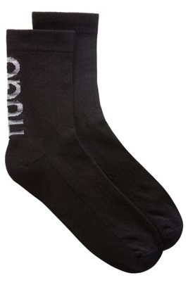 Quarter-length socks with reflective logo intarsia, Black