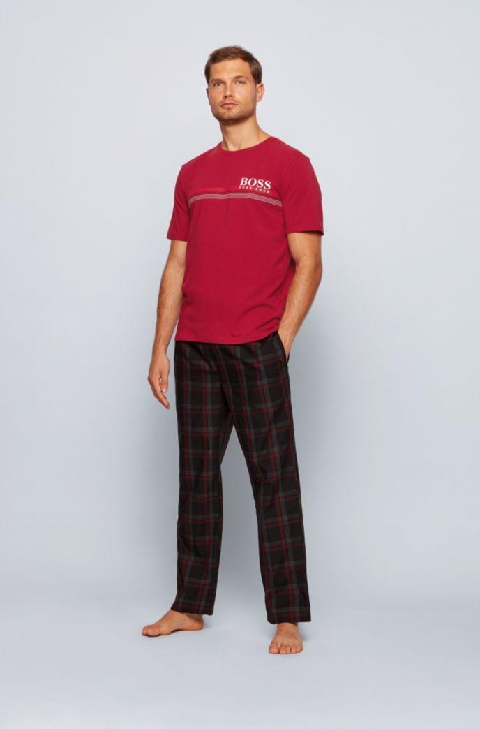 Pyjama T-shirt in stretch cotton with striped logo artwork
