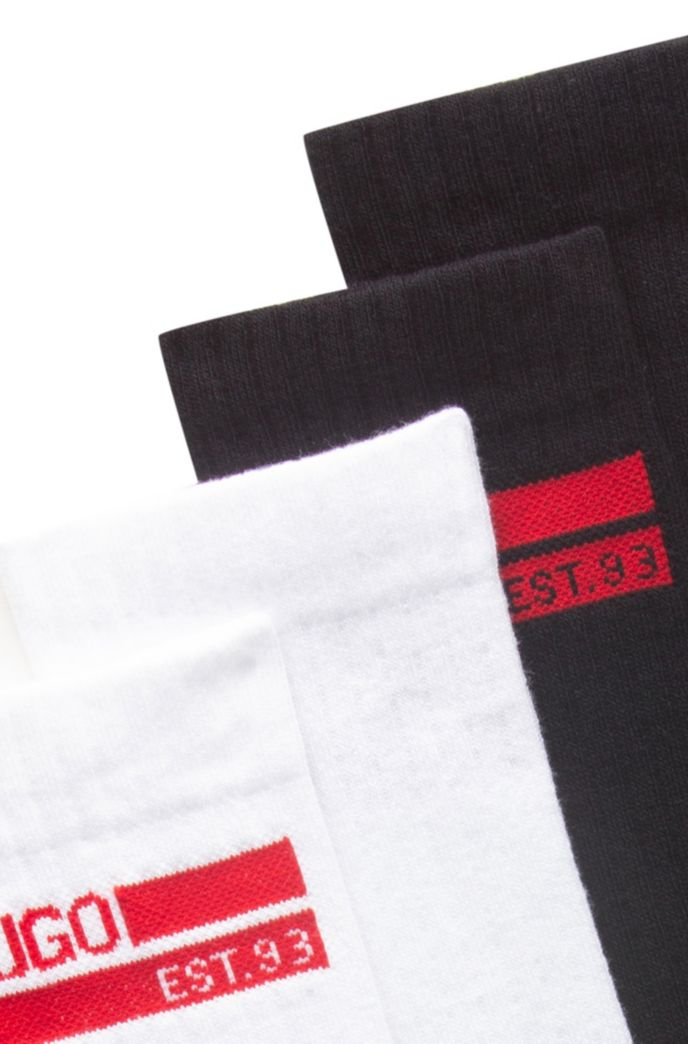 Gift-boxed two-pack of socks with logo intarsia