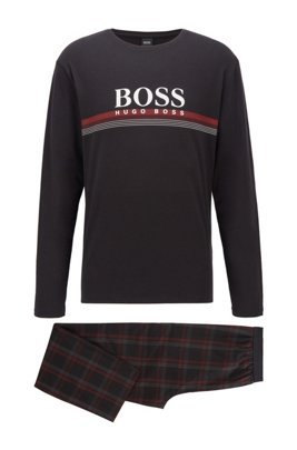 Logo pyjama set in pure cotton with checked trousers, Black