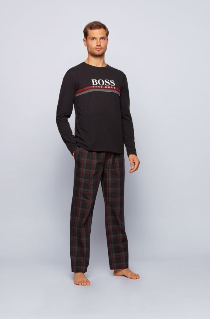 Logo pyjama set in pure cotton with checked trousers