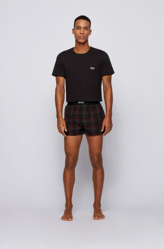 Pyjama shorts in checked cotton with logo waistband