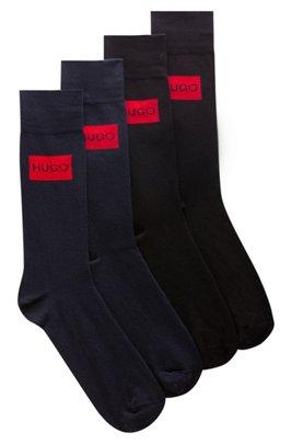 Two-pack of regular-length cotton-blend logo socks, Black