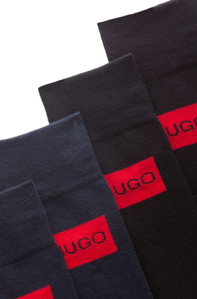 Two-pack of regular-length cotton-blend logo socks