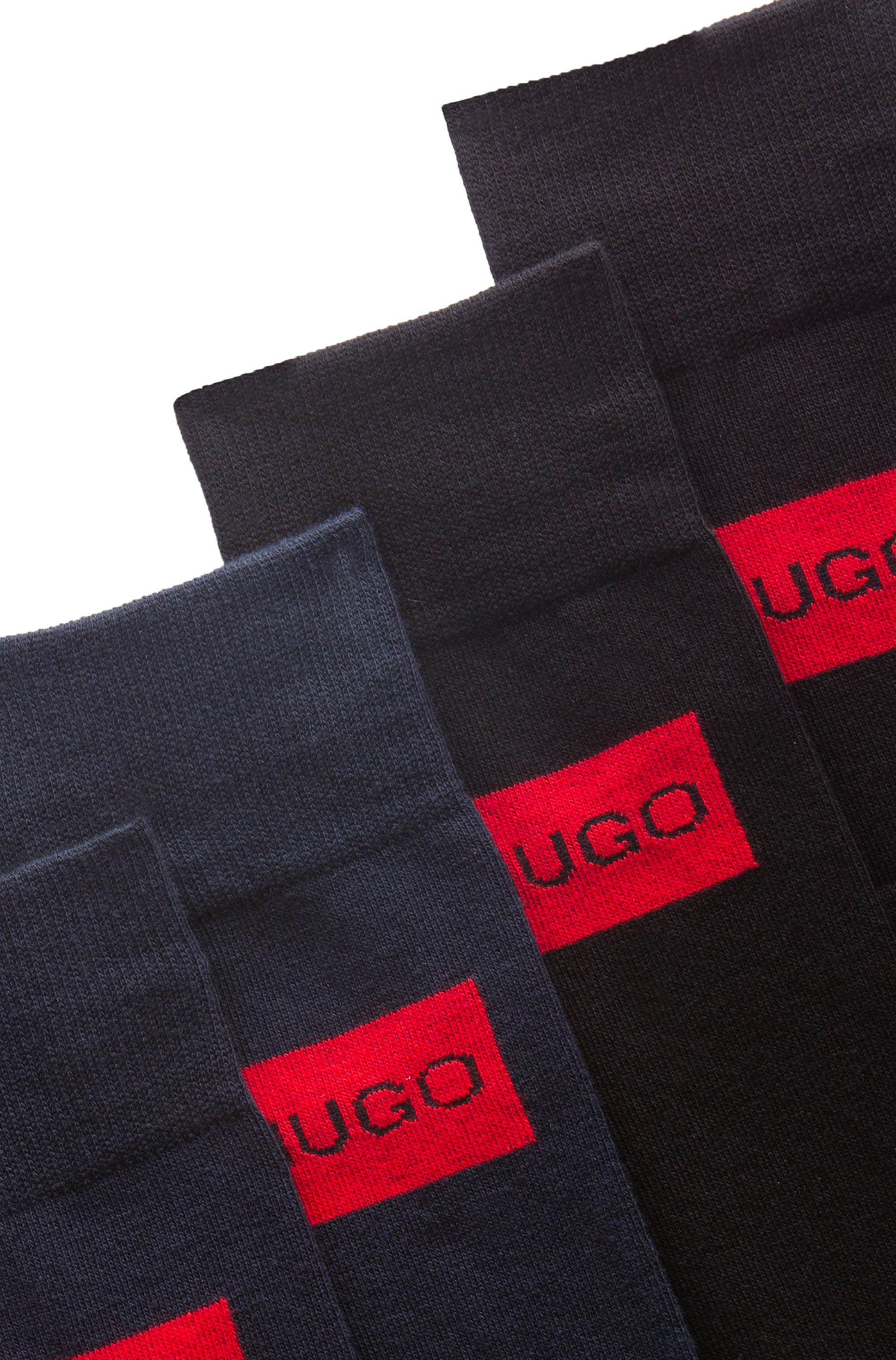 Two-pack of regular-length cotton-blend logo socks