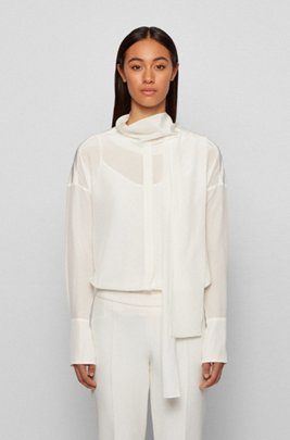 Relaxed-fit blouse in washed silk with tie neck, White