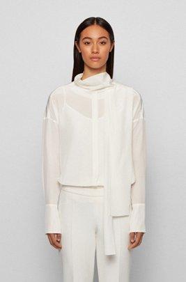 Relaxed-Fit Bluse aus gewaschener Seide mit Bindeband am Ausschnitt, Weiß