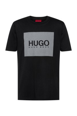 Crew-neck T-shirt in cotton with reflective logo print, Black