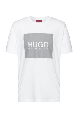 Crew-neck T-shirt in cotton with reflective logo print, White