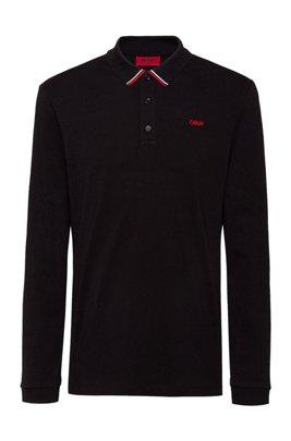 Cotton-piqué polo shirt with reverse-logo embroidery, Black