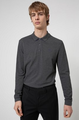 Cotton-piqué polo shirt with reverse-logo embroidery, Dark Grey