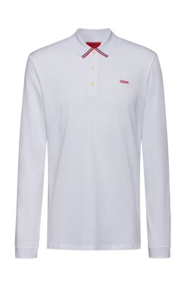 Cotton-piqué polo shirt with reverse-logo embroidery, White