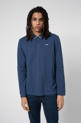 Cotton-piqué polo shirt with reverse-logo embroidery, Dark Blue