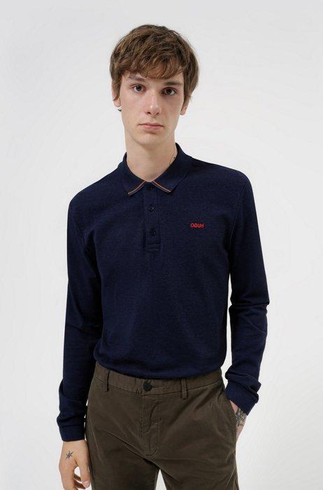 Cotton-piqué polo shirt with reverse-logo embroidery, Light Blue