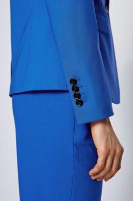 Veste droite en laine vierge stretch traçable, bleu clair