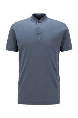 Polo shirt in interlock cotton with Korean collar, Grey