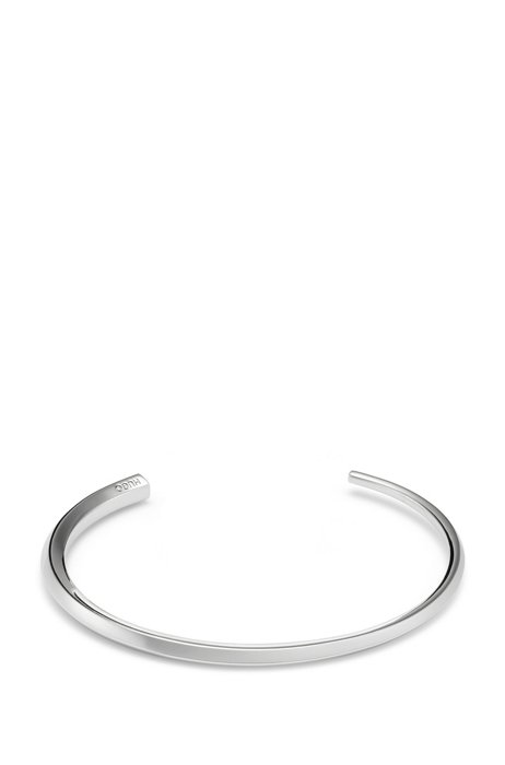 Polished-brass cuff with engraved logo, Silver