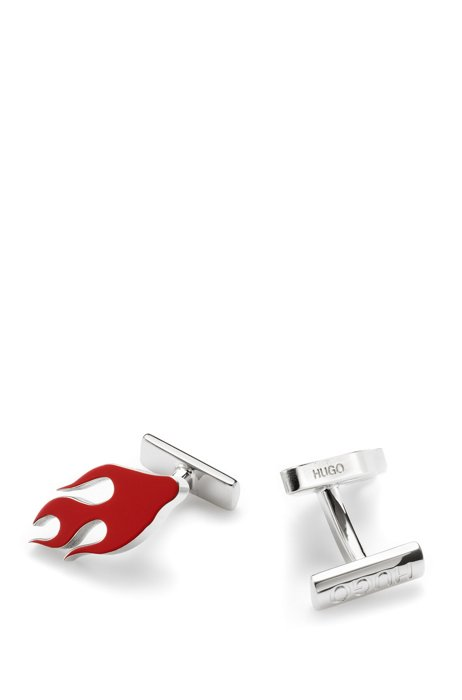 Flame-motif cufflinks in polished brass, Red