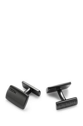 Rectangular black-plated brass cufflinks with logos, Black