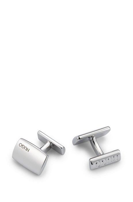 Rectangular plated brass cufflinks with logos, Silver