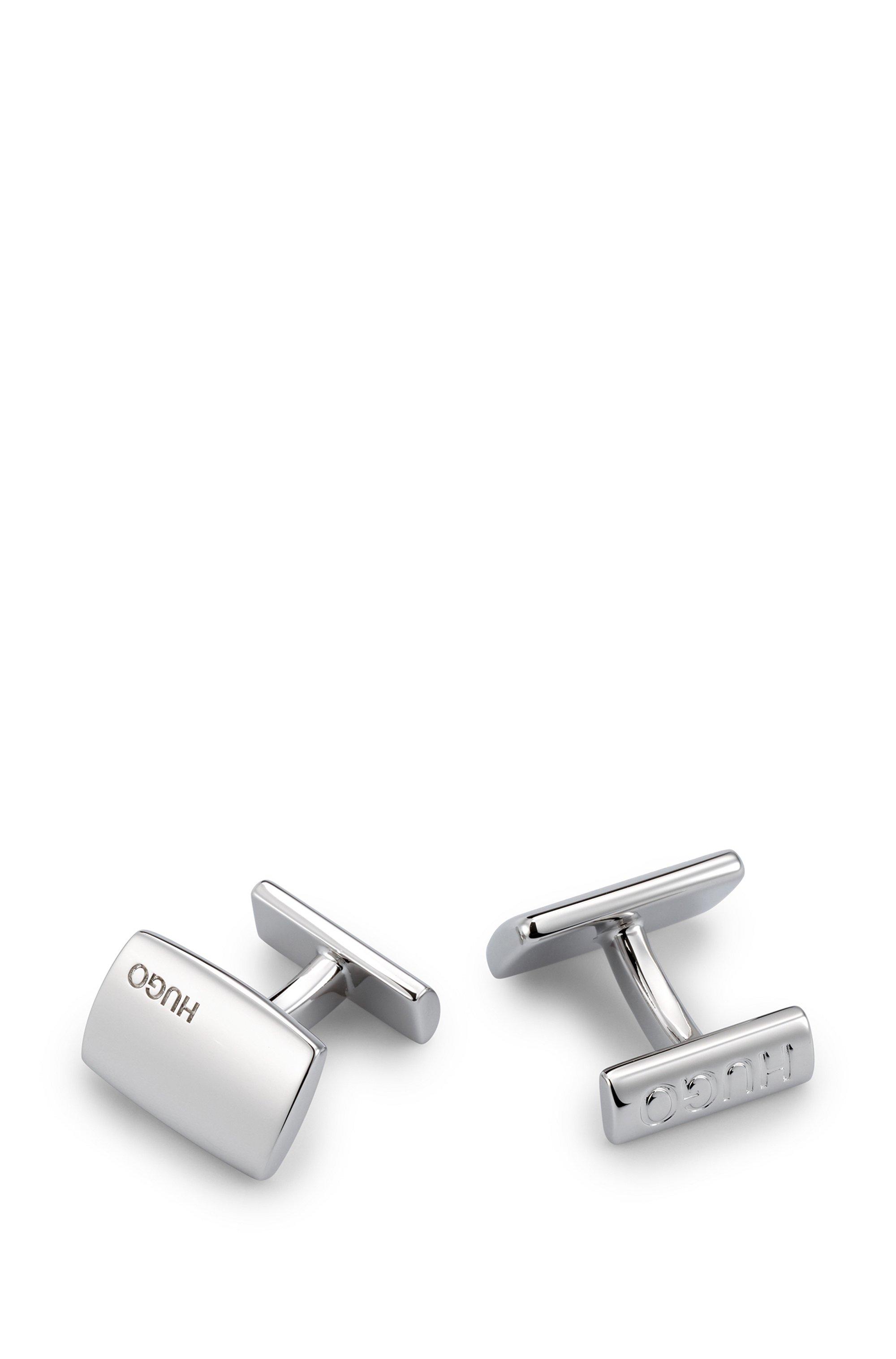 Rectangular black-plated brass cufflinks with logos, Silver