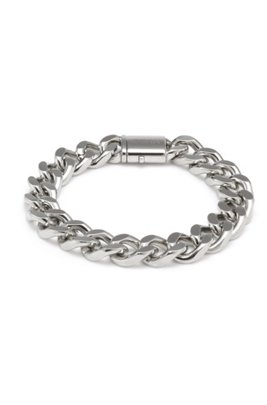 Polished chain cuff with logo pushlock closure, Silver
