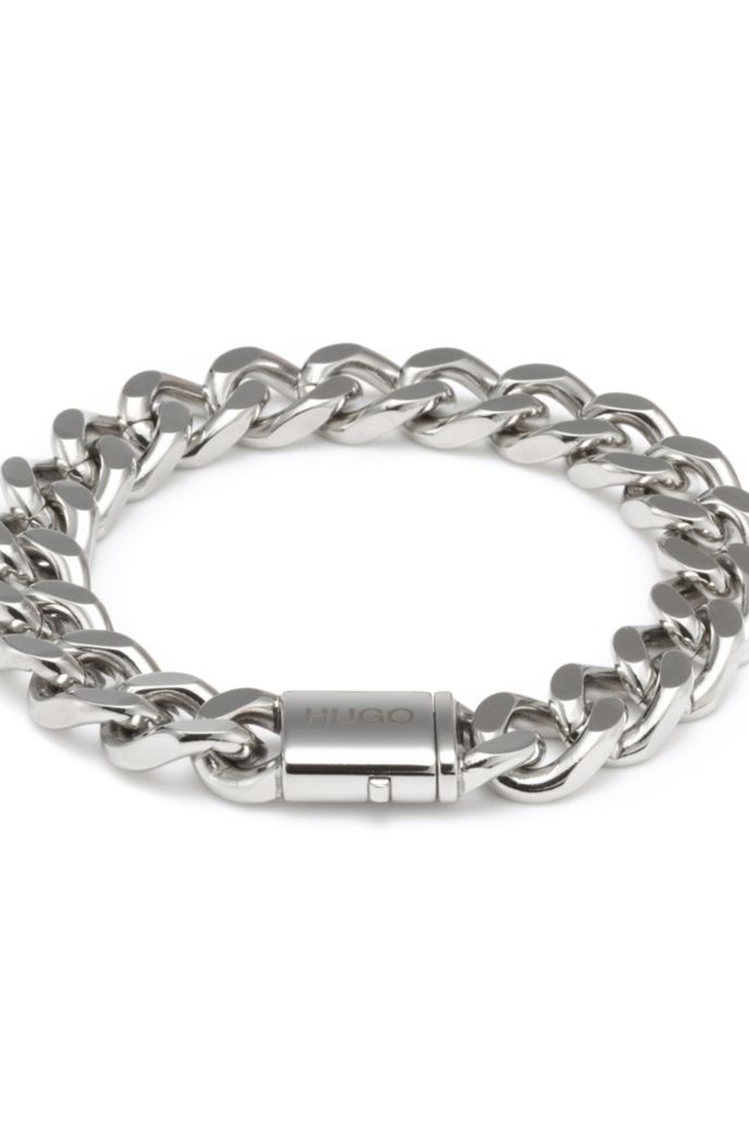 Polished chain cuff with logo pushlock closure