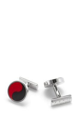 Round brass cufflinks with yin and yang enamel motif, Red