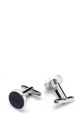 Round brass cufflinks with logo coloured-enamel core, Dark Blue