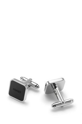 Square brass cufflinks with logo enamel core, Black