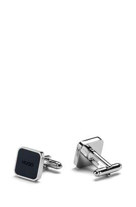 Square brass cufflinks with logo enamel core, Dark Blue