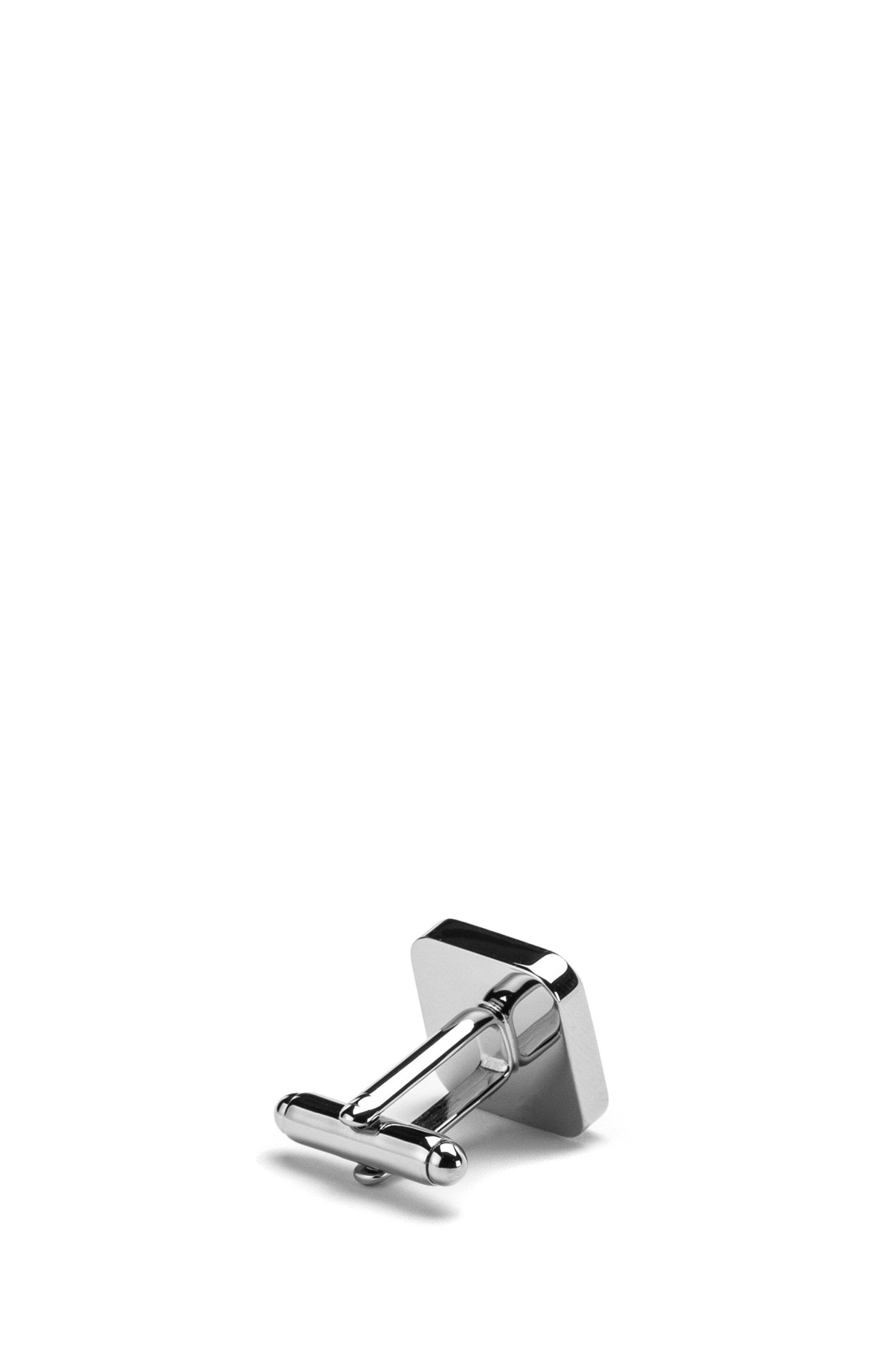 Square brass cufflinks with logo enamel core