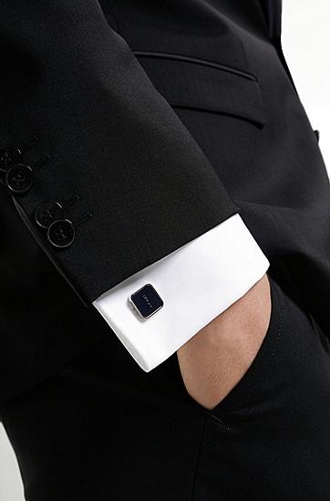 徽标珐琅内芯方形黄铜袖扣,  405_Dark Blue