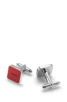 Square brass cufflinks with logo enamel core, Red