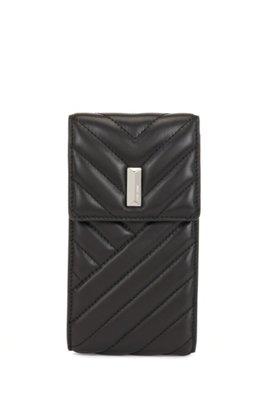 Étui pour téléphone en cuir nappa matelassé avec bandoulière à maillons, Noir