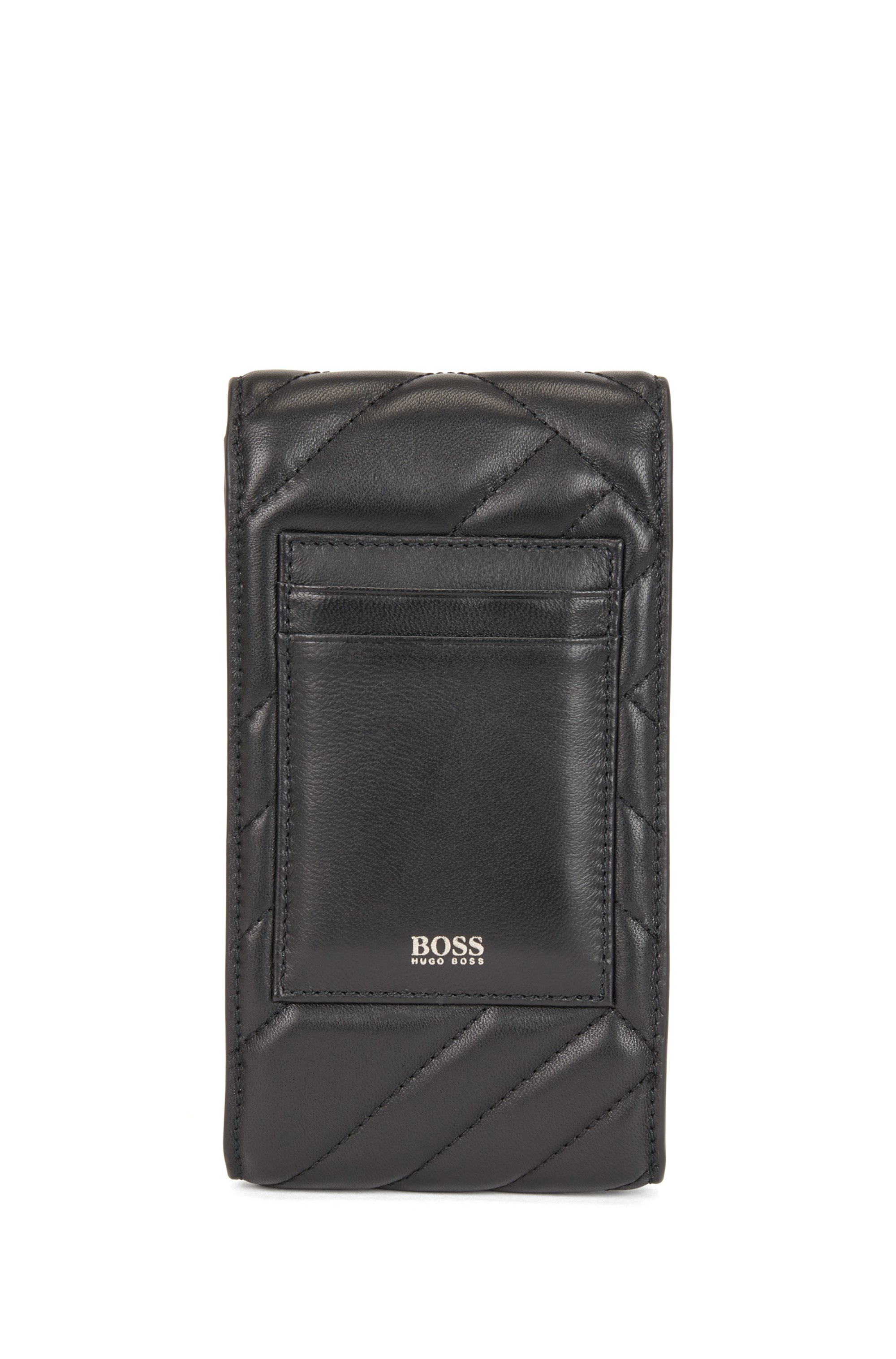 Quilted nappa-leather phone holder with chain strap