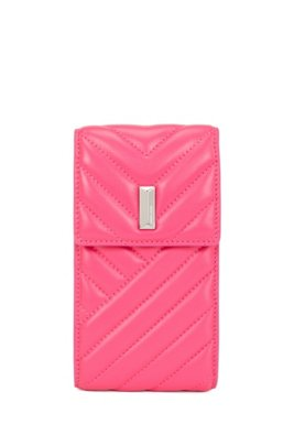 Quilted nappa-leather phone holder with chain strap, Pink