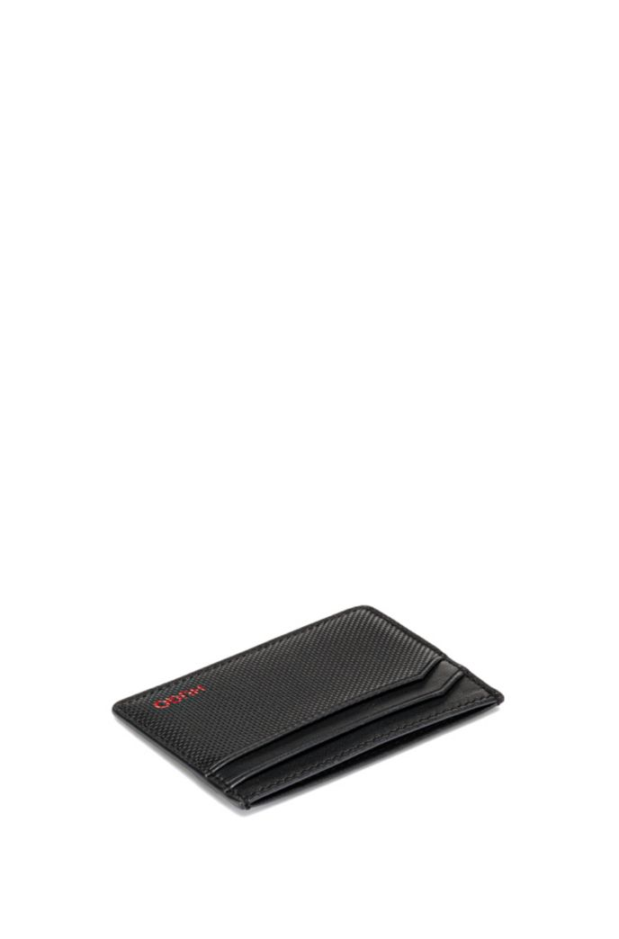 Logo-print card holder in smooth and embossed leather