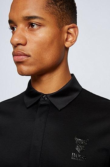 胸前图案装饰丝光棉 Polo 衫,  001_黑色