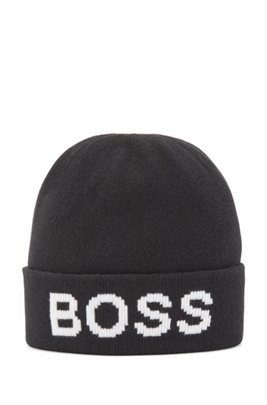 Beanie hat with logo intarsia and turnup, Black