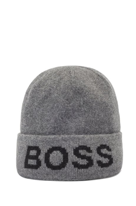 Beanie hat with logo intarsia and turnup, Light Grey