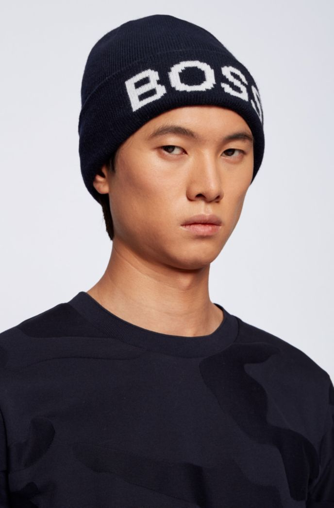 Beanie hat with logo intarsia and turnup